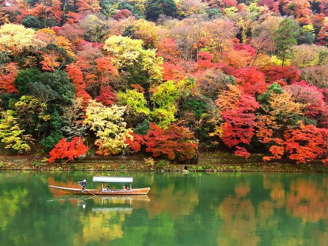 京都・嵐山の紅葉景色
